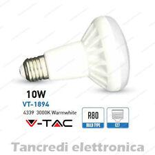 Lampadina led V-TAC 10W = 65W E27 bianco caldo 3000K VT-1894 R80 faretto spot