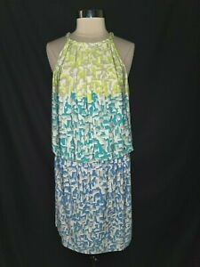 MAGGY LONDON Size 14 Shift Dress White Blue Green Sleeveless