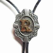 """Initial Letter """"R"""" Western Cowboy Rodeo Bolo Tie"""
