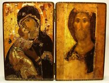 Orthodox Russian diptych icon Mary, mother of Jesus and Jesus Christ