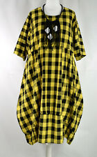 STUNNING OCHRE & BLACK BLOCK BALLOON DRESS BY DESIGNER LA BASS SZ L/XL