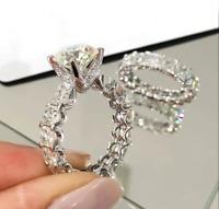 3Ct Moissanite Solid 14k White Gold Engagement Wedding Bridal Ring Set