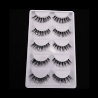 5 Pairs Long Soft Makeup Tool Black False Eyelashes Eye Lashes Extension New/CA