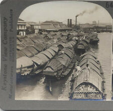 STEREOVIEW OF HOUSE BOATS ON PASIG RIVER - MANILA, PHILIPPINES