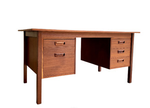 Mid Century Modern TEAK DANISH Two Sided DESK with Bookcase, 1960's