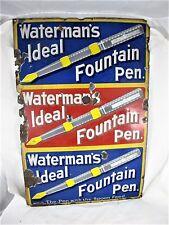 WATERMAN'S IDEAL FOUNTAIN PEN ADVERTISING ENAMEL SIGN, C1905 PORCELAIN SIGN