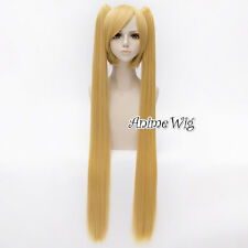 Basic Anime Cosplay Vocaloid MIKU Blonde 30CM Wig With 100cm Straight Ponytails