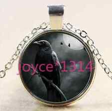 Vintage crow in tree Cabochon Tibetan silver Glass Chain Pendant Necklace #2563