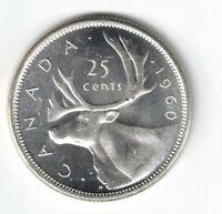 CANADA 1960 25 CENTS QUARTER QUEEN ELIZABETH II CANADIAN .800 SILVER COIN