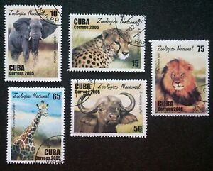 1CUBA  Sc# 4508-4512  ZOO ANIMALS  African tiger elephant CPL SET of 5 2005 used