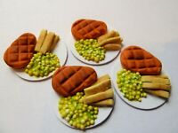 DOLLS HOUSE MINIATURE FOOD 1:12 * STEAK CHIPS + PEAS FOR FOUR * COMBINED P+P