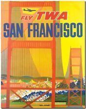 "Vintage Travel Poster CANVAS PRINT ~ San francisco Golden Gate Bridge 8""X 10"""