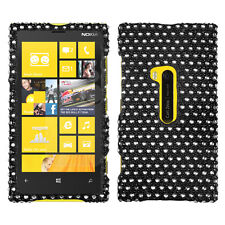 For Nokia Lumia 920 Crystal Diamond BLING Hard Case Phone Cover Black Dots