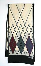 Jaeger vintage silk scarf - Argyll Print - Cream / Burgundy / Black - Long
