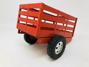 1958 Tonka Stake Trailer Red Early Hitch Pin Style 5 Hole Hubcaps