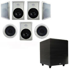 "Acoustic Audio HT-87 Wall Ceiling 8"" 7.1 Speakers & 6.5"" Powered Sub HT-87-PS6"