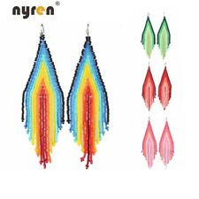 Beads Earrings Bohemian Multi Color Manual Beaded Drop Dangle Earrings 2438