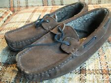 Clarks Mens 10M Brown Suede Lined Moccasin Slippers 016-1028