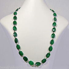 """Malachite Sterling Bead Necklace 10x14mm Oval 5mm Round 20"""" Length Hook Clasp"""