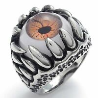 MENDINO Men's Stainless Steel Ring Dragon Claw Evil Eye Punk Rock Gothic Red