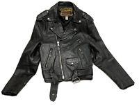 Vintage Manzoor Genuine Leather motorcycle biker jacket size 36 Heavy