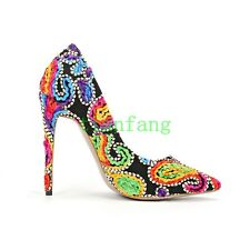 Floral Print Womens Pointy Toe Slip On Pumps Party Shoes Mary Janes Rhinestones