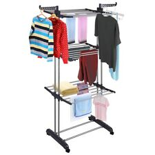 US 3Tier Rolling Laundry Clothes Storage Drying Rack Portable Dryer Hanger Stand
