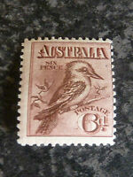 AUSTRALIA POSTAGE STAMP SG19 CLARET 6D 1914 LIGHTLY-MOUNTED MINT