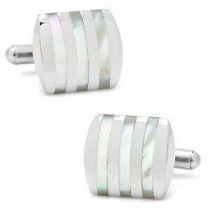 Ox and Bull Trading Co. Stainless Steel Striped Mother of Pearl Cufflinks