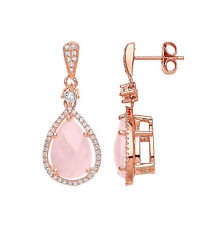 Rose Quartz Earrings Sterling Silver Drop Natural Quartz Drops Rose Gold Plated