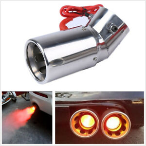 Universal Auto Car LED Exhaust Pipe Spray Spitfire Red Light Flaming Muffler Tip