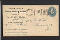 NEW YORK, NEW YORK  1897 COVER, ADVT JOHN W SCOTT, STAMPS & COINS.