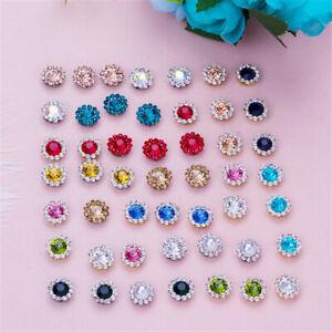 50Pcs Bling Crystal Rhinestone Pearl Flatback Buttons Wedding Embellishments