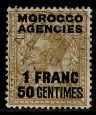 MOROCCO AGENCIES GV SG211, 1f 50 on 1s bistre-brown, FINE USED.