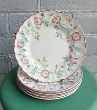 SET OF 5 VINTAGE CHURCHILL BRIAR ROSE FLORAL SIDE PLATES MADE IN ENGLAND