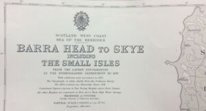 ADMIRALTY SEA CHART. BARRA HEAD to SKYE. SCOTLAND WEST COAST. No.1796... 1959.