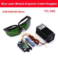 DIY TTL CNC PWM 5.5W 5500mW 450nm Blue Laser Module Engraving Machine + Goggles