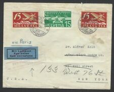 Switzerland Airmails on 1936 JUSQU'A cover to USA