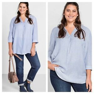 SHeego @ curvissa size 18 blue white striped tunic TOP 3/4 sleeve casual