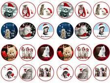 cute Kitten cats christmas xmas bun fairy cupcake toppers party edible paper x24