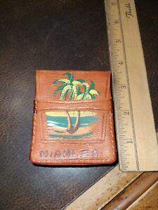 1940s Leather Tourism Cigarette Pack Casr Miami Fla. Made In Ecuador