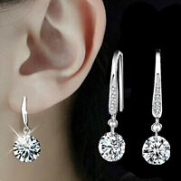 Chic Women Plated silver Ear Hook Chandelier Crystal Dangle Earring Gift