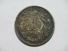 MEXICO 1912 50 CENTAVOS CAP & RAYS LOW GRADE SILVER WORLD COIN 🌈⭐🌈