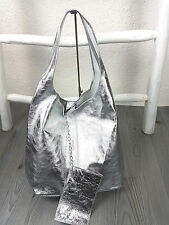 Trendy Beuteltasche silber metallic Shopper Handtasche Schultertasche