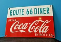 VINTAGE COCA COLA PORCELAIN ROUTE 66 GAS BEVERAGE SERVICE STATION SIGN
