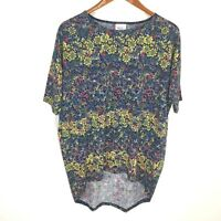 LuLaRoe Irma Blue Yellow Floral Paisley Short Sleeve Tunic Top Women's Size XS