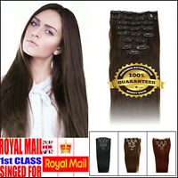 """10""""-24"""" Clip In 100% Real Human Hair Extensions  Double Wefted UK STOCK FAST"""