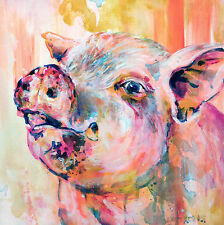 "'Wilbur' - tribute to pig from Charlotte's Web -12x12"" art print on 80lb paper"