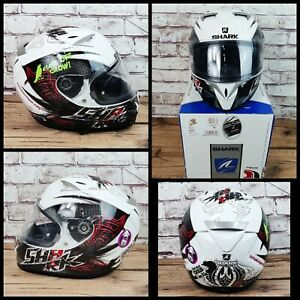 Shark s900C Finks White Black Red Motorcycle Motorbike Bike helmet size Medium M