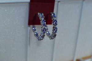 4.45ct Tanzanite / Zircon Inside Out Hoop Earrings Platinum over Fine Silver
